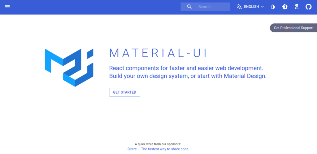 Material UI React components Frameworks